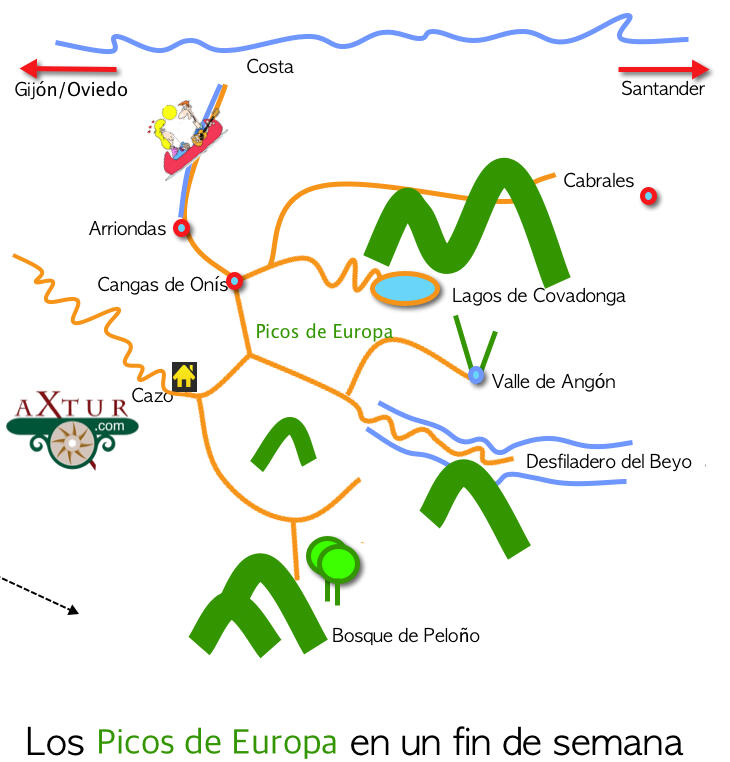 Situación de Asturias Secreta, casa rural en los Picos de Europa