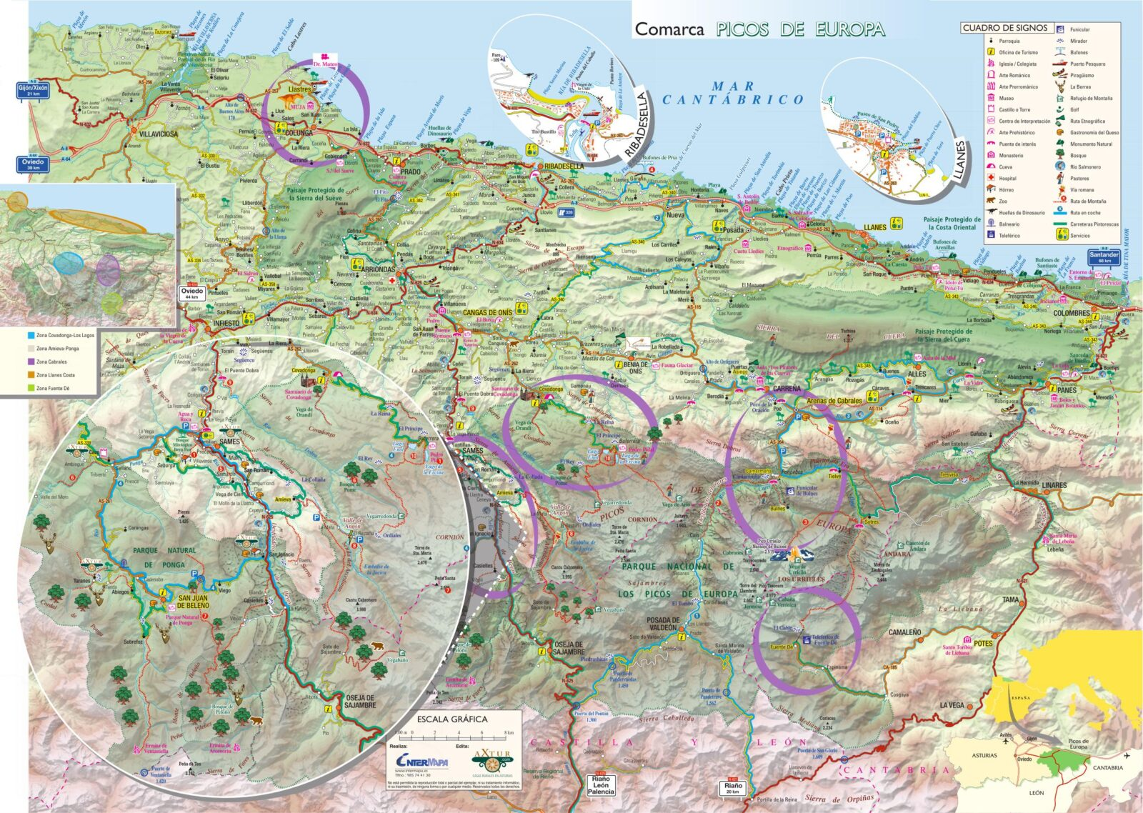 Alojamientos en Picos de Europa. Mapa