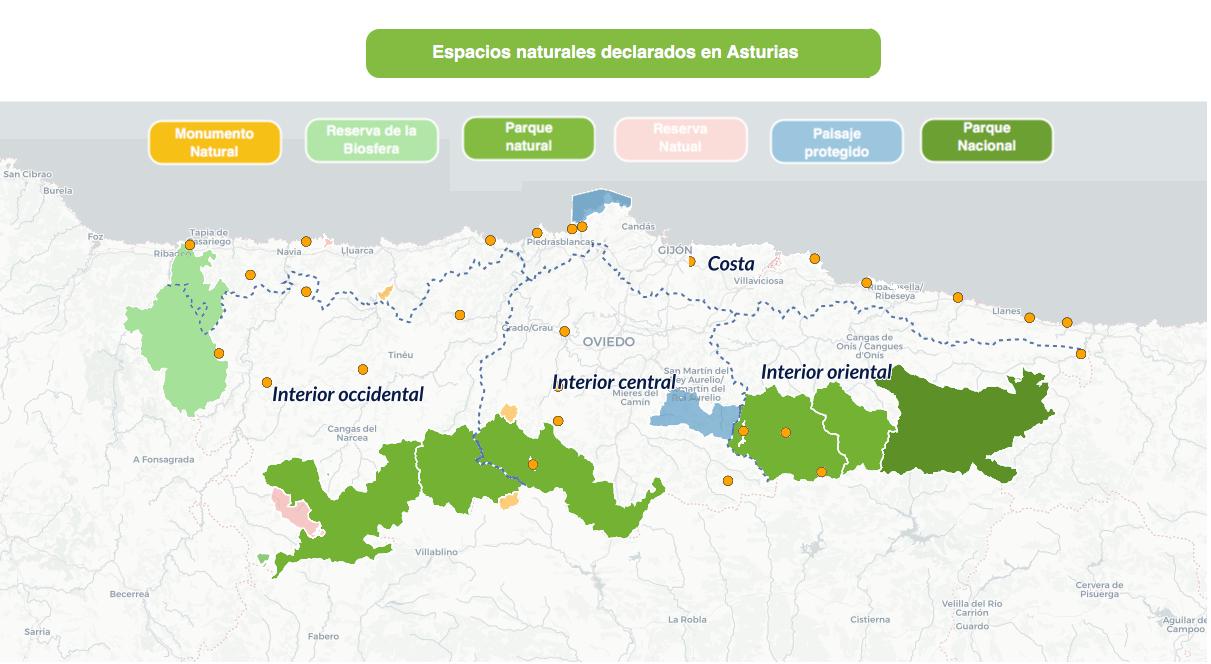 Espacios naturales y zonas de Asturias